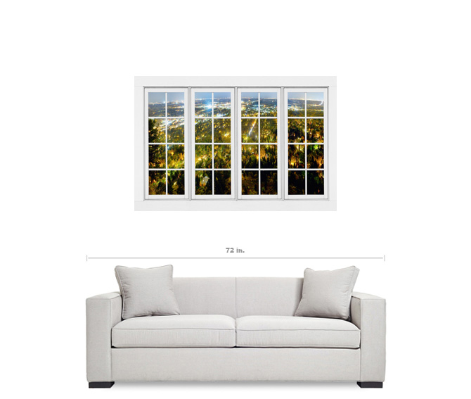 "City Lights White Window Penthouse View 32""x48""x1.25"" Canvas Wrap Art"