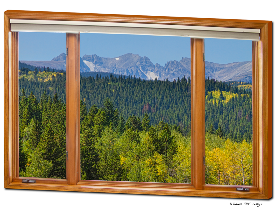 "Colorado Rocky Mountain Continental Divide Autumn Wood Window View Art 32""x48""x1.25"" Premium Canvas Gallery Wrap"