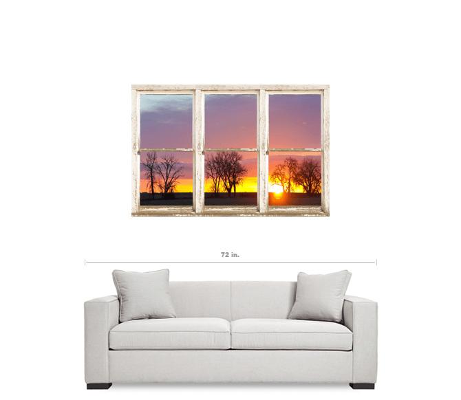 "Colorful Morning White Rustic Farmhouse Window View 32""x48""x1.25"" Premium Canvas Wrap Art"