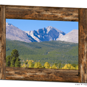 Colorado Longs Peak Rustic Wood Window View Art 30″x40″x1.25″ Canvas Gallery Wrap