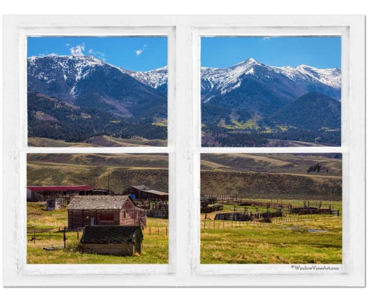 Colorado Cattle Ranch Whitewash Farmhouse Window View 30″x40″x1.25″ Canvas Art