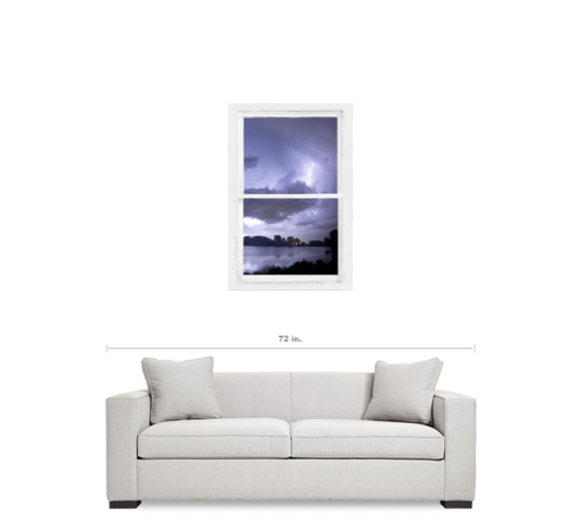 Lake Storm Rustic Whitewashed Window View 24×36 Premium Canvas Gallery Wrap