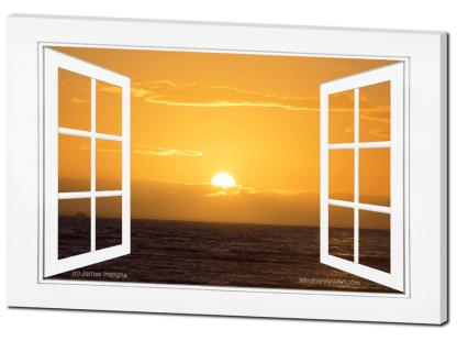 Golden Ocean Sunset Open Picture Window Frame Art View 32×48 Premium Canvas Gallery Wrap