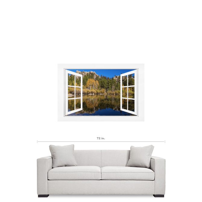 Peaceful Colorful Lakeside Open White Picture Window Frame View 32x48x1.25 Canvas Gallery Wrap