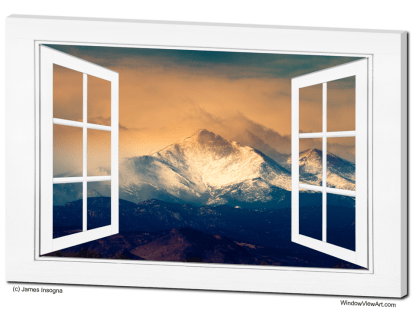 Majestic Twin Peaks Open White Picture Window Frame Art View 32×48 Premium Canvas Gallery Wrap