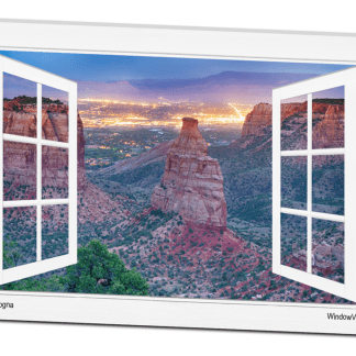 Colorado National Monument And City Lights Open White Picture Window Frame Art View 32×48 Canvas Gallery Wrap