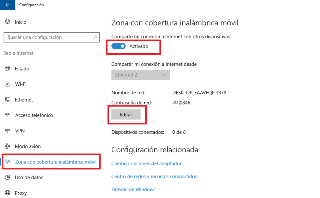 activar zona de cobertura inalambrica movil en Windows 10 - Crear Punto de Acceso WiFi en Windows 10