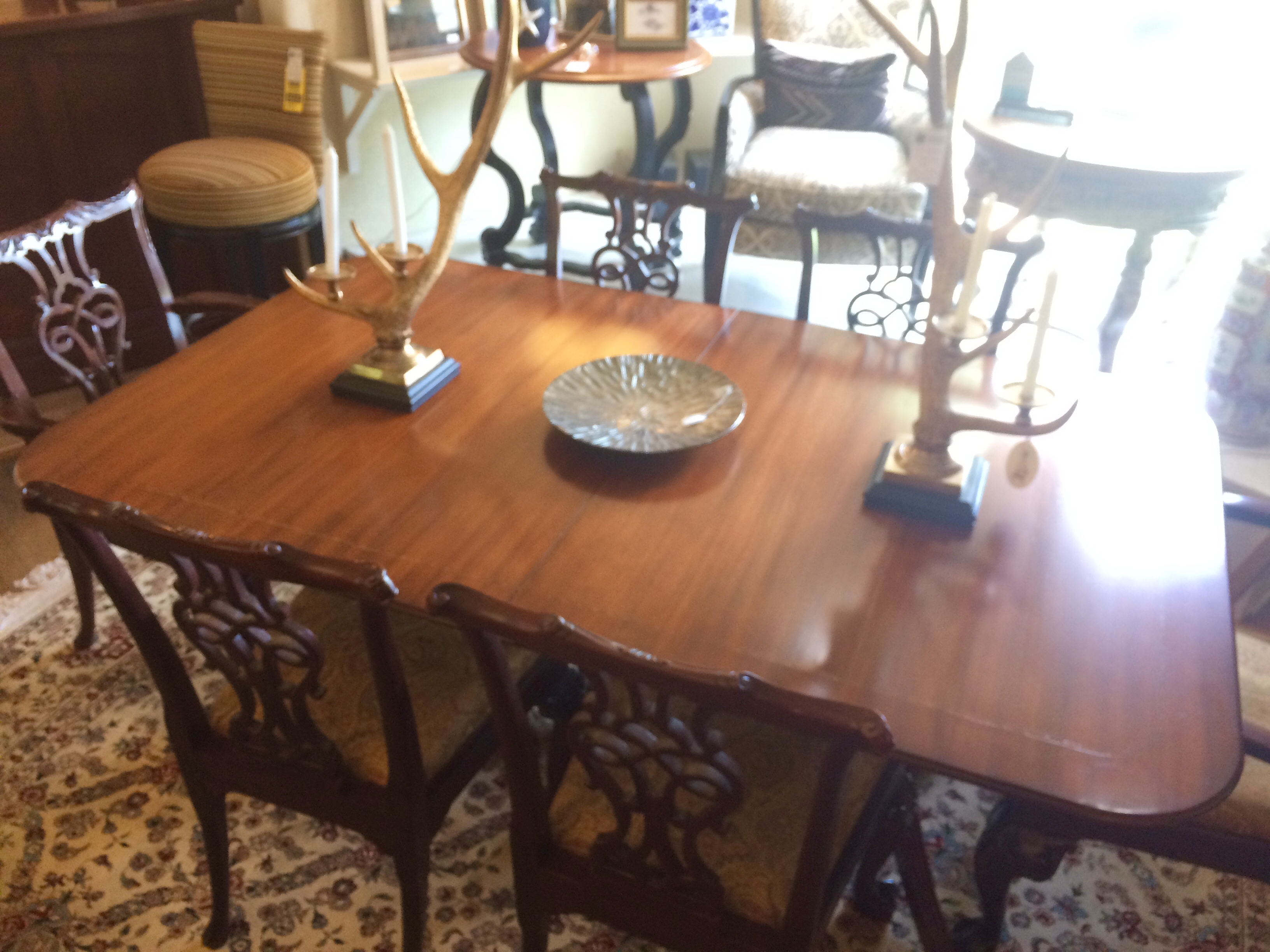 Baker Collector\'s Edition Mahogany Double Pedestal Dining Table with Twelve  Georgian Chairs