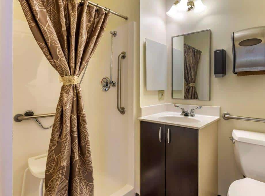 memory care senior private suite bathroom