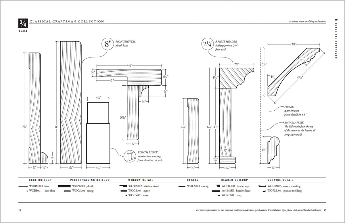 Dimensioned Classical Craftsman Profiles