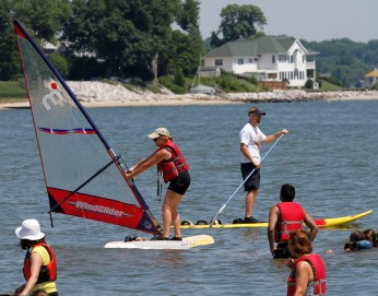 Windsurfing group on the water.