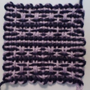 Finished square off the loom (front).