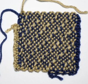 Single crochet on the Left (tan); Slip Stitches with chains on the Right (dark blue).