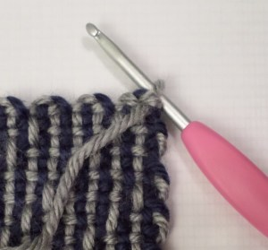 Hook in place to begin sl stitching.