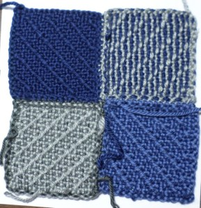 Mattress Stitch joined squares--reverse (untrimmed threads).