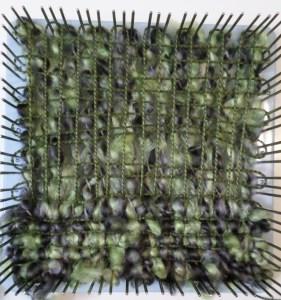 Layer 1: Chunky or bulky yarn Layers 2 & 3: thin yarn Layer 4: Chunky or bulky yarn