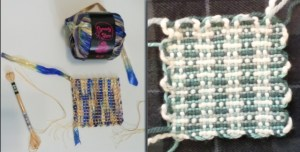 Weaving with ribbon was sufficiently difficult that I never tried it again. While the sample on the right is technically made with size 4 yarns, the off-white cotton was bulkier, in size if not weight, than the others.