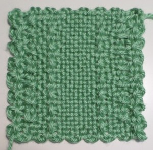 """Lattice Borders""--single color; this sample featured a mistake in the pattern. It has since been corrected."