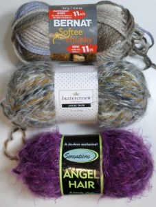 From top: chunky-weight (#6) yarn and two skeins of bulky weight (#5)