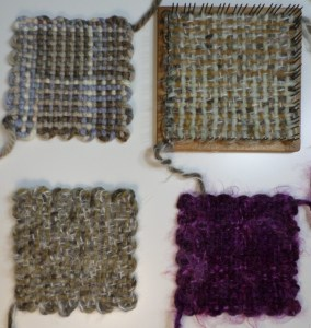 Starting at top left: Chunky yarn square, bulky yarn square on the Weave-it, bulky yarn square off the Loomette, bulky yarn square off the Weave-it