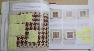 This is a sample page of my copy of the book. It prompted me to make one of my early blog post duos: to weave the houndstooth check patten on the Weave-it and Loomette, respectively.