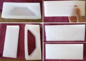 Anti-static packing foam that was used in a shop light box. You may have to gently pry some of the layers apart. Use the smoothest surface for gluing purposes.
