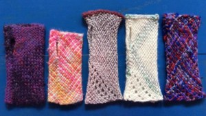 Sample mitts made by Elizabeth Jan Parr and her daughter.