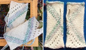 One pair of mitts before washing and after.