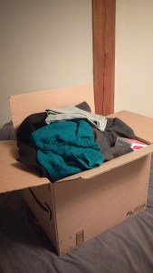 A box full of items I plan to donate