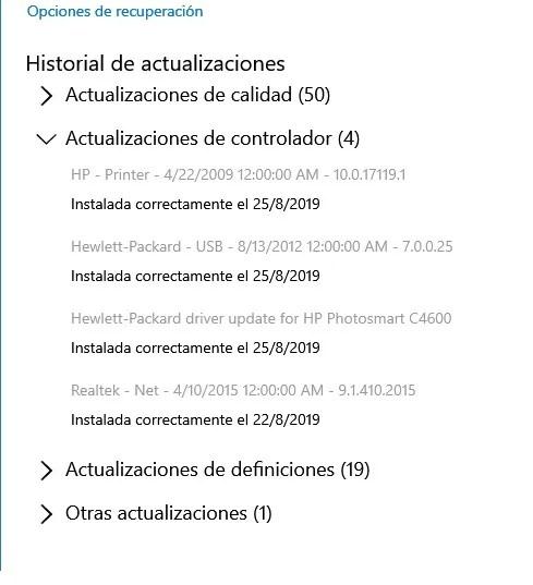 títulos drivers windows update