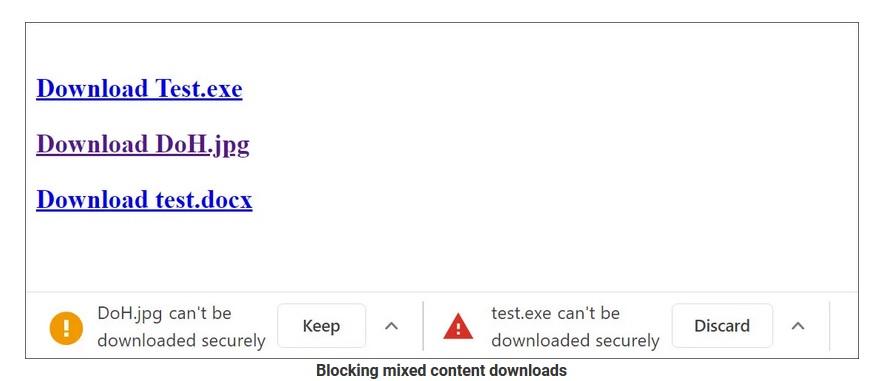 bloqueo descarga contenido mezclado google chrome 85