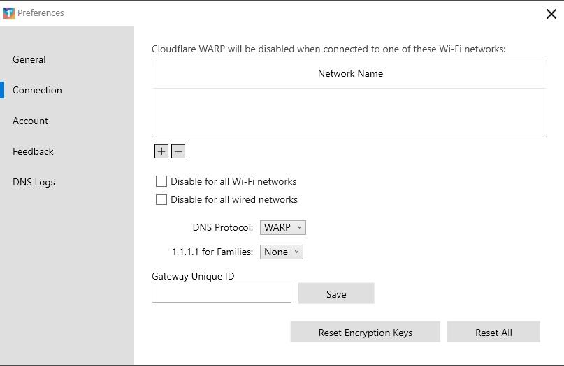 lista conexiones no soportadas warp cloudflare