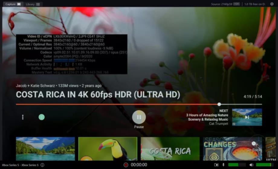 codec vp9-2 hdr en youtube con xbox