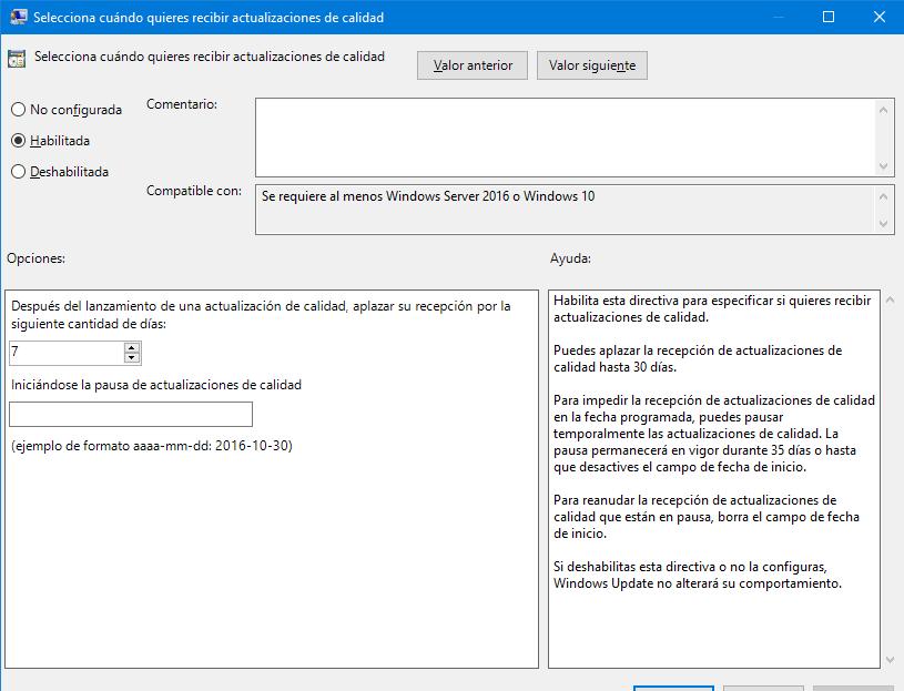 aplazar dias para las actualizaciones de calidad en windows 10