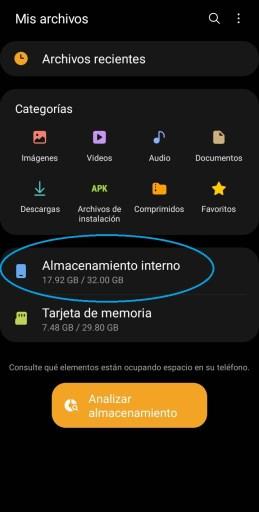 memoria interna al personalizar sonidos en android