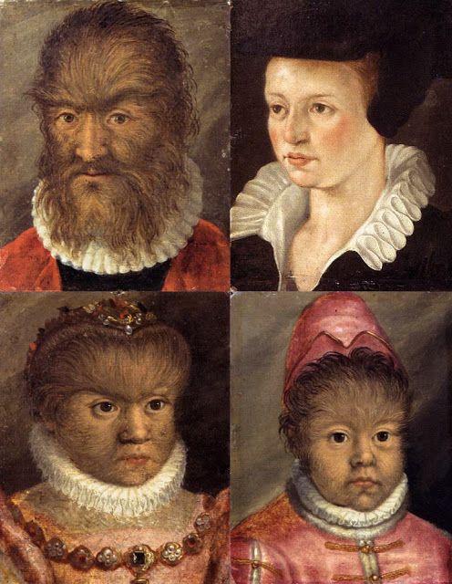 La bella, la bestia y dos de los niños Gonsalvus