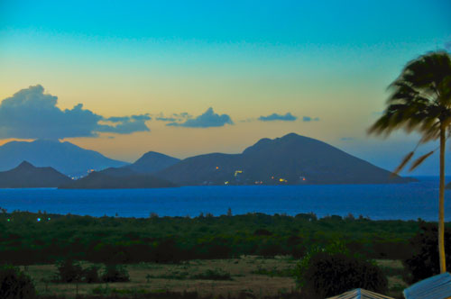 St. Kitts from Nevis at sunset