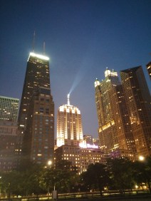 Perfect Chicago summer night view from Oak Street Beach.