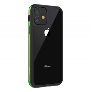 """Stuff cool Frame Hard Clear, Designed for Apple iPhone 11 Case Cover 6.1"""" Back Case(Green)"""