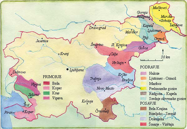 Slovenia wine map