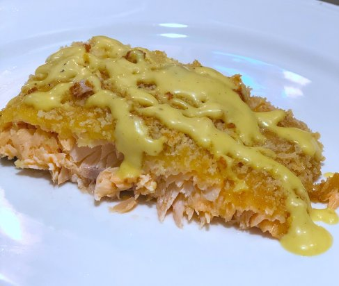 Quick & Easy oven baked panko crusted salmon with maple mayo, a healthy simple dinner recipe