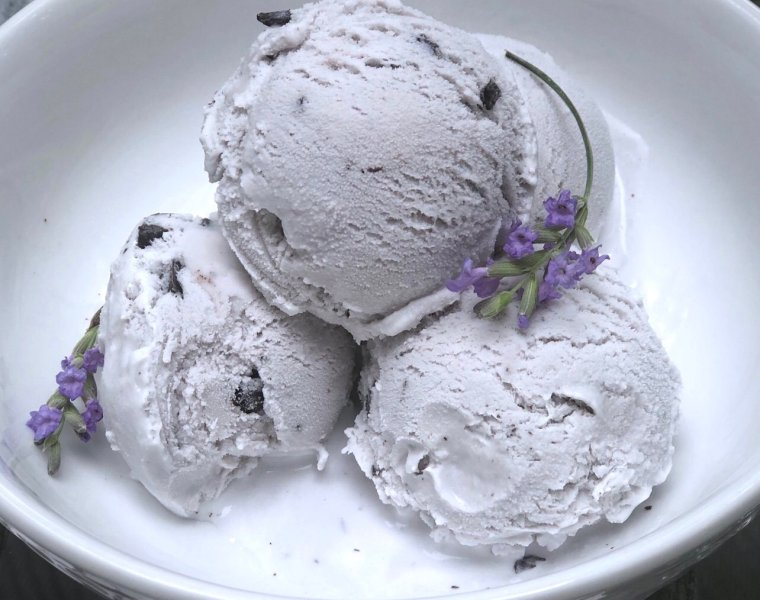 Homemade Lavender Mocha Chocolate Chunk Ice Cream