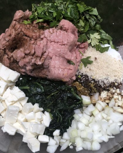 Ingredients for healthy spinach and mozzarella turkey burgers-mix in one bowl!
