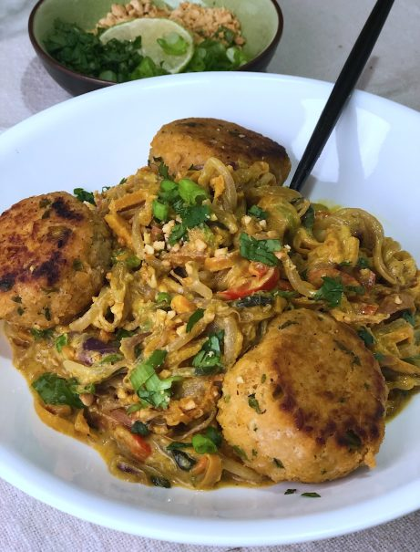 Stir Fry Asian Veggie Noodles with Coconut Curry Peanut Sauce & Asian Meatballs-a healthy and low carb dinner bursting with Asian flavor.