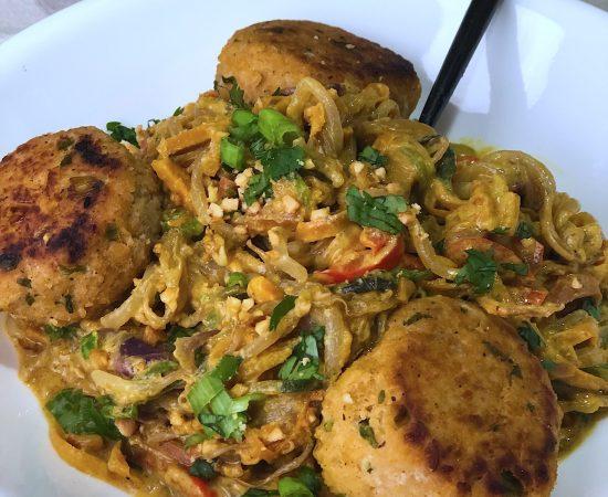 Veggie Noodles with Coconut Curry Peanut Sauce & Asian Meatballs