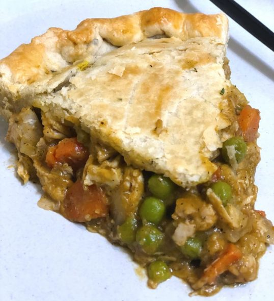 homemade chicken pot pie with pumpkin and rosemary pie crust