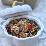 sausage and cranberry cauliflower stuffing casserole