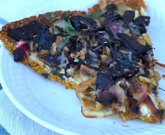 Healthy Veggie Pizza with Gluten Free Sweet Potato Crust