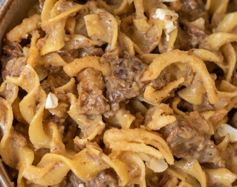 Crockpot French Onion Beef Stroganoff