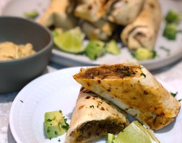 Crispy Baked Vegetarian Taquitos with Cauliflower Taco Meat